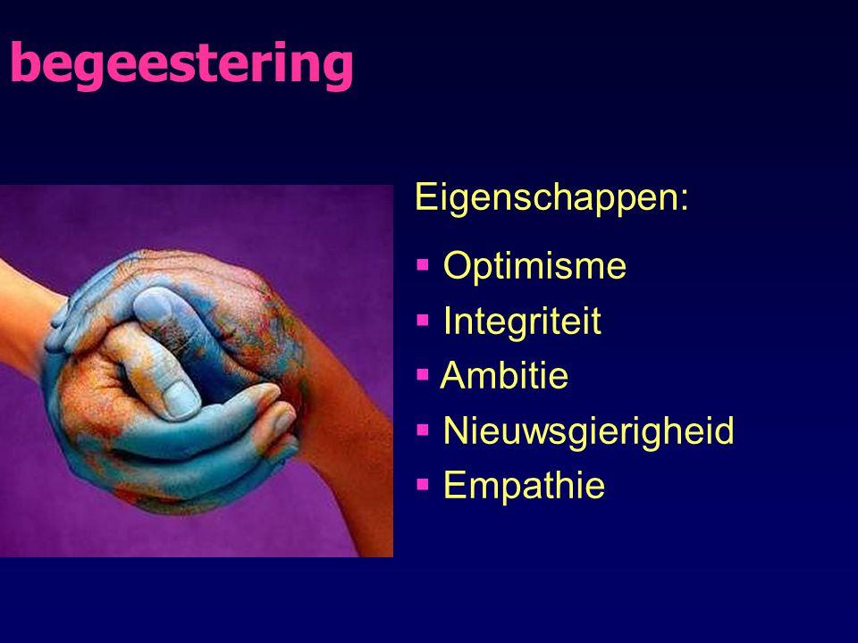 begeestering Eigenschappen:  Optimisme  Integriteit  Ambitie  Nieuwsgierigheid  Empathie