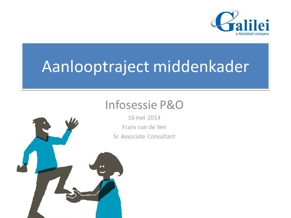 Aanlooptraject middenkader Infosessie P&O 16 mei 2014 Frans van de Ven Sr. Associate Consultant