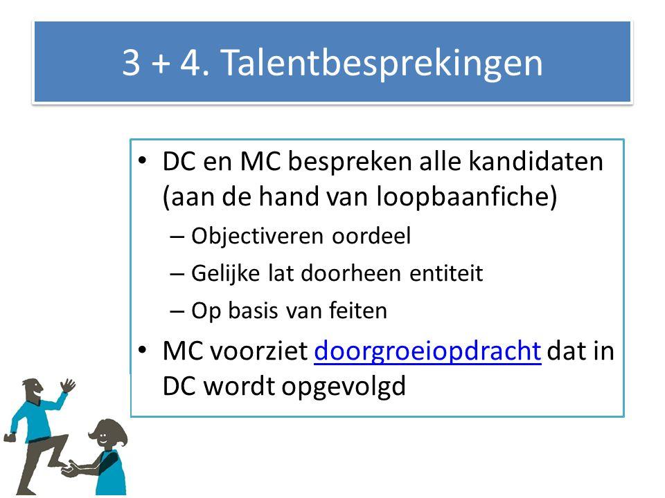 3 + 4. Talentbesprekingen DC en MC bespreken alle kandidaten (aan de hand van loopbaanfiche) – Objectiveren oordeel – Gelijke lat doorheen entiteit –