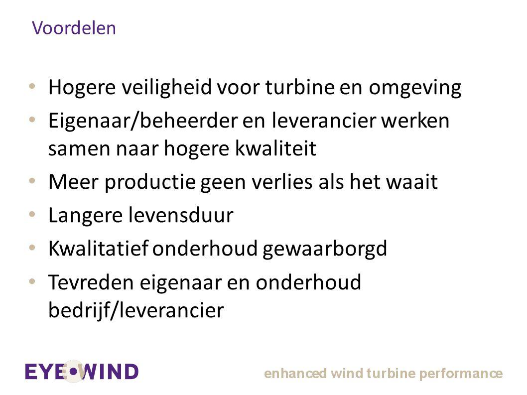 Voordelen Hogere veiligheid voor turbine en omgeving Eigenaar/beheerder en leverancier werken samen naar hogere kwaliteit Meer productie geen verlies