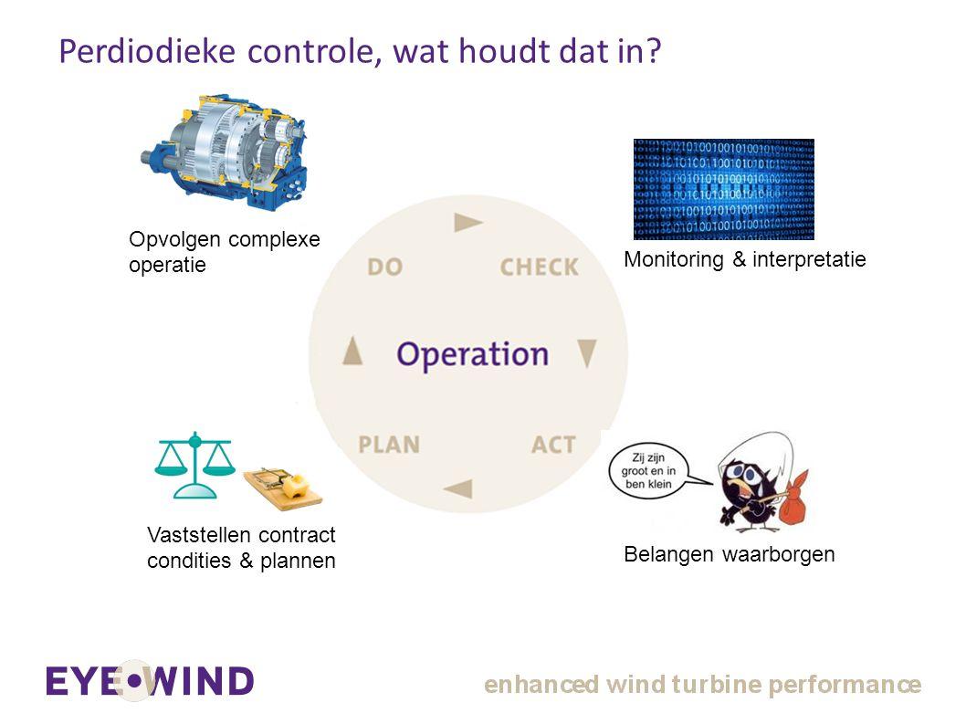 Perdiodieke controle, wat houdt dat in? Opvolgen complexe operatie Vaststellen contract condities & plannen Monitoring & interpretatie Belangen waarbo