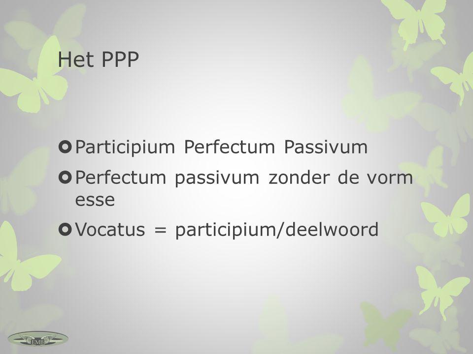 Het PPP  Participium Perfectum Passivum  Perfectum passivum zonder de vorm esse  Vocatus = participium/deelwoord