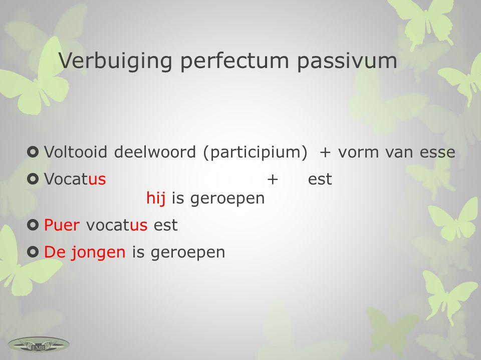 Verbuiging perfectum passivum  Voltooid deelwoord (participium) + vorm van esse  Vocatus + est hij is geroepen  Puer vocatus est  De jongen is ger