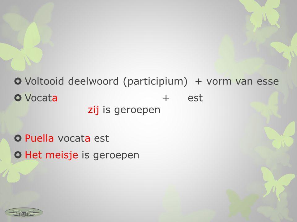 enkelvoudmeervoud vocatus sum – ik ben/werd geroepen vocati sumus – wij zijn/werden geroepen vocatus es - jij bent/werd geroepen vocati estis - jullie zijn/werden geroepen vocatus est - hij is/werd geroepen vocati sunt – zij zijn/werden geroepen Let op: -us vs.