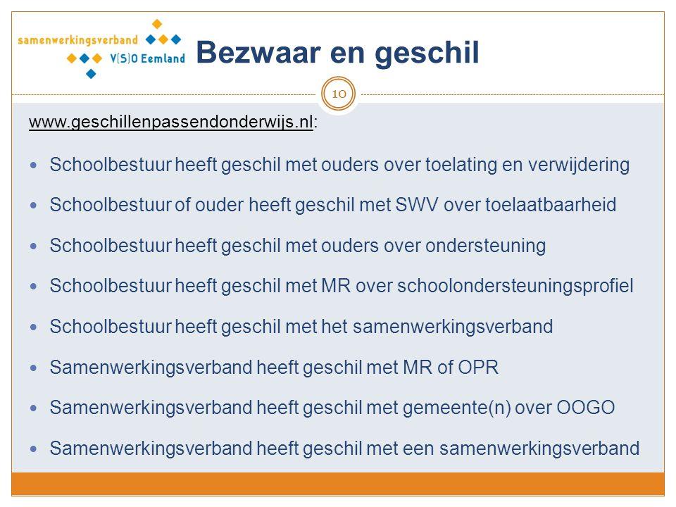 Bezwaar en geschil 10 www.geschillenpassendonderwijs.nl: Schoolbestuur heeft geschil met ouders over toelating en verwijdering Schoolbestuur of ouder