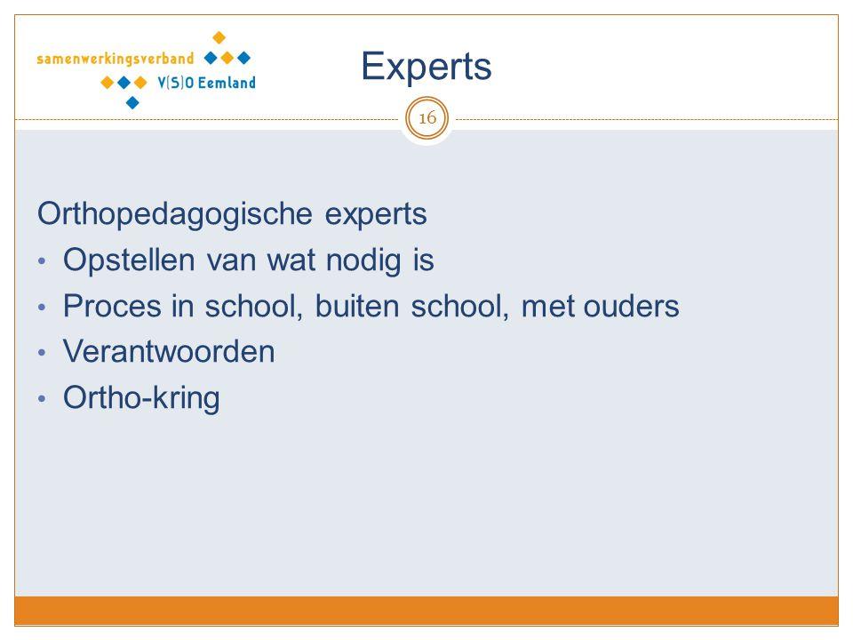 Experts 16 Orthopedagogische experts Opstellen van wat nodig is Proces in school, buiten school, met ouders Verantwoorden Ortho-kring