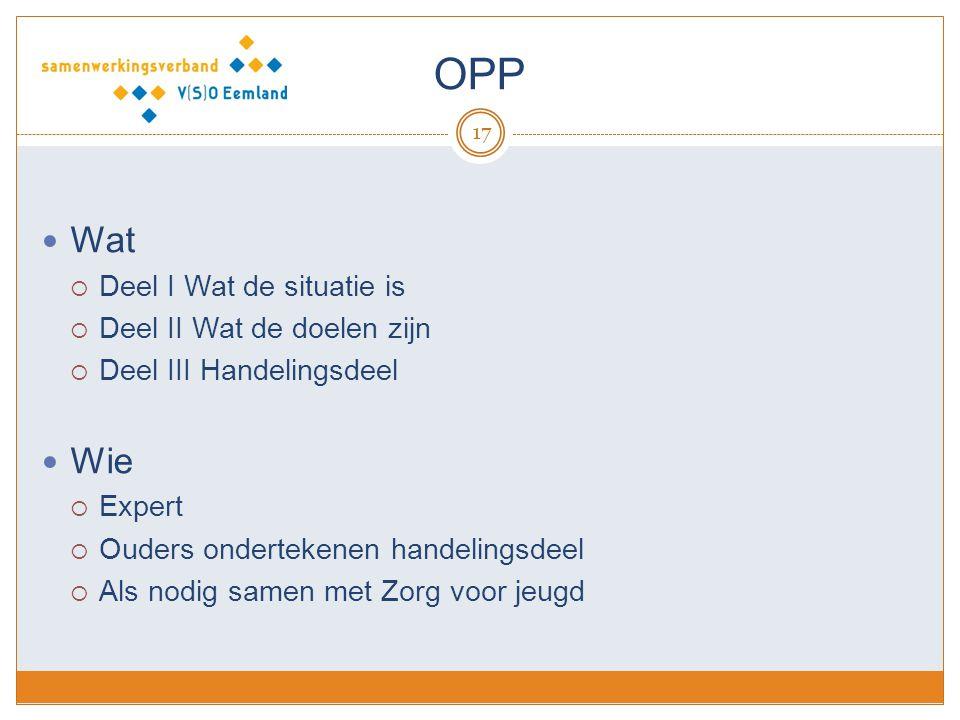 OPP 17 Wat  Deel I Wat de situatie is  Deel II Wat de doelen zijn  Deel III Handelingsdeel Wie  Expert  Ouders ondertekenen handelingsdeel  Als