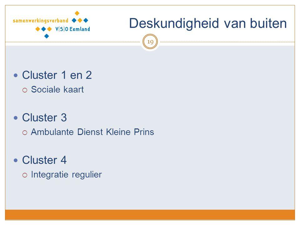 Deskundigheid van buiten 19 Cluster 1 en 2  Sociale kaart Cluster 3  Ambulante Dienst Kleine Prins Cluster 4  Integratie regulier