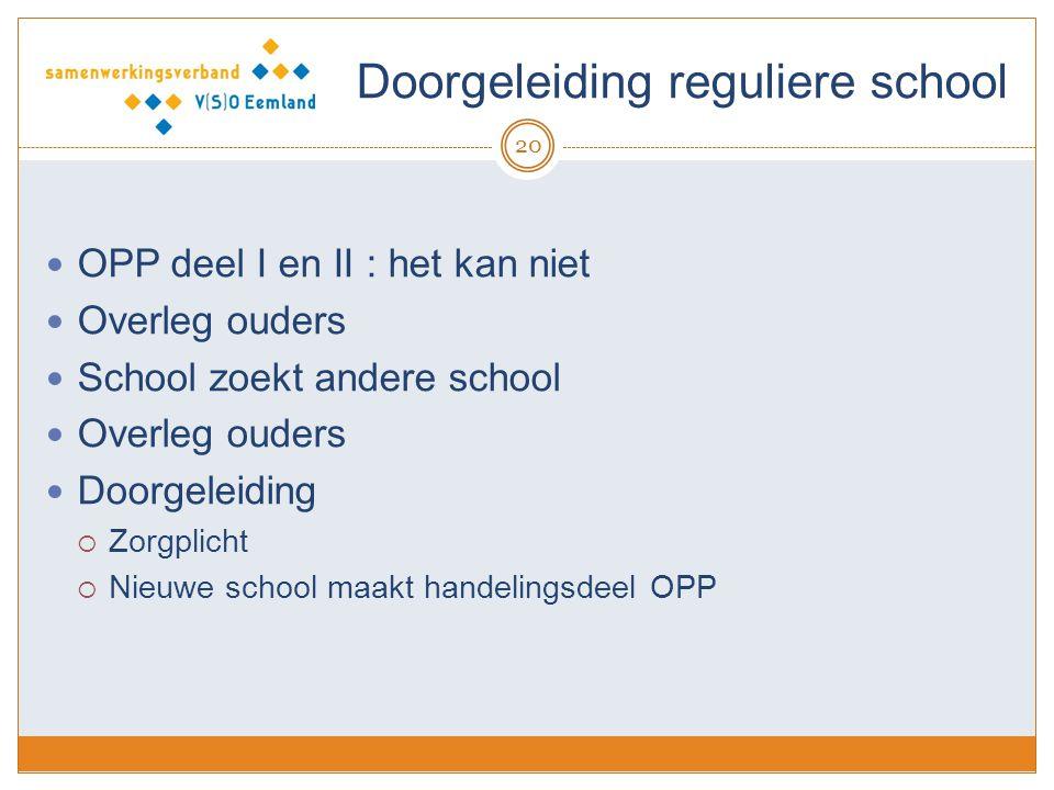 Doorgeleiding reguliere school 20 OPP deel I en II : het kan niet Overleg ouders School zoekt andere school Overleg ouders Doorgeleiding  Zorgplicht
