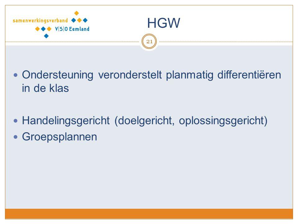 HGW 21 Ondersteuning veronderstelt planmatig differentiëren in de klas Handelingsgericht (doelgericht, oplossingsgericht) Groepsplannen