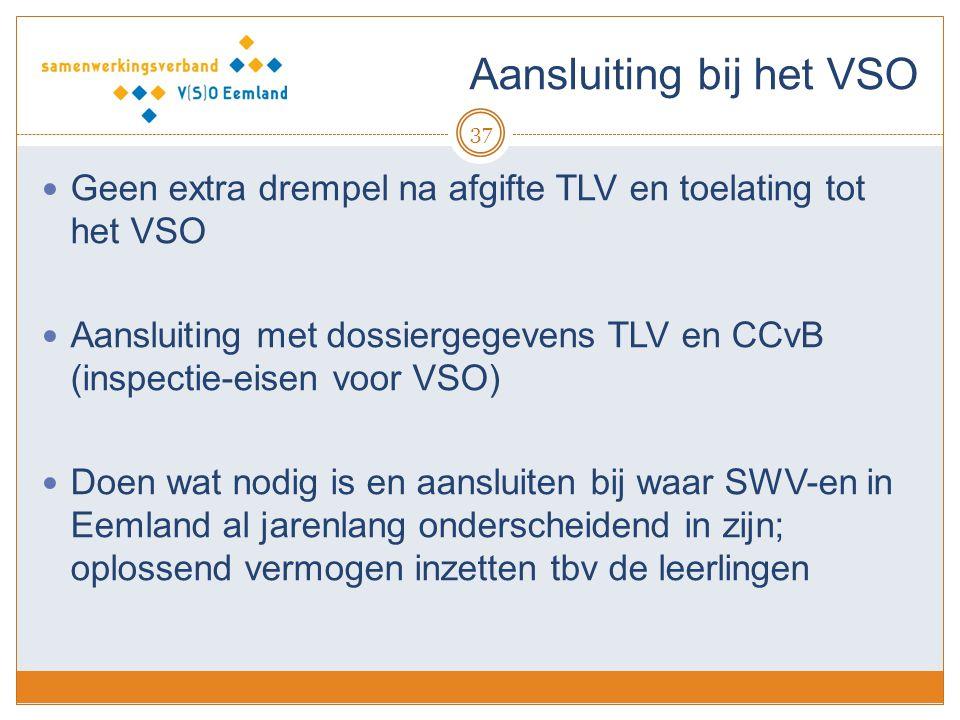 Aansluiting bij het VSO 37 Geen extra drempel na afgifte TLV en toelating tot het VSO Aansluiting met dossiergegevens TLV en CCvB (inspectie-eisen voo