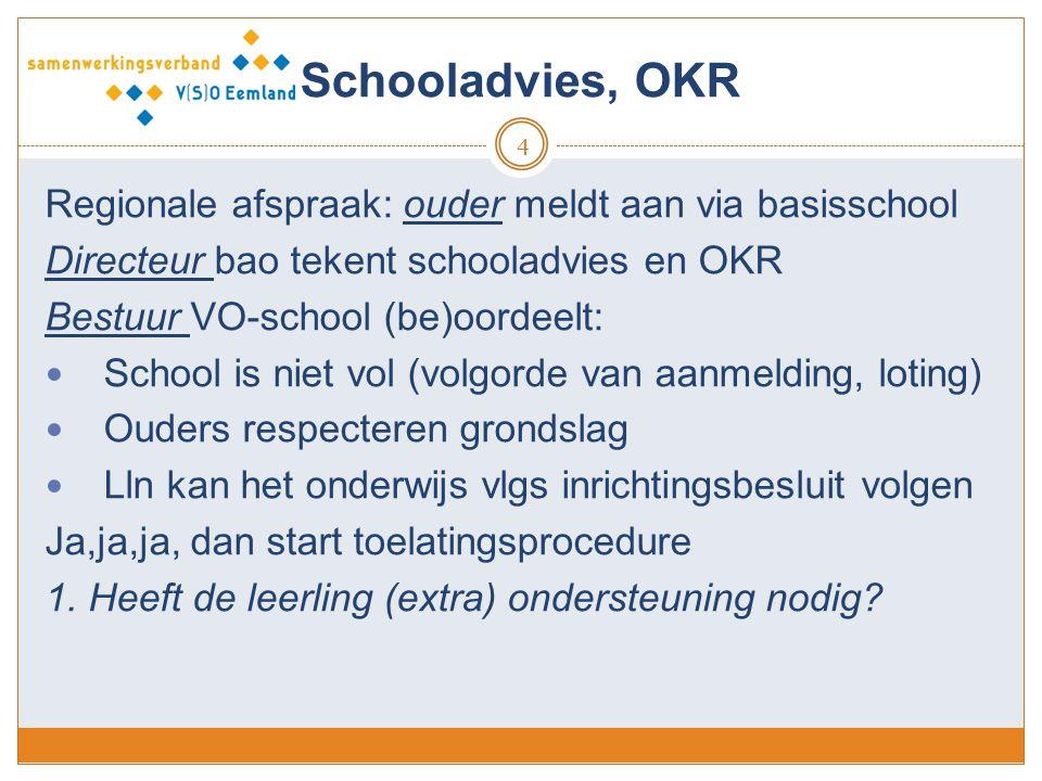 Schooladvies, OKR 4 Regionale afspraak: ouder meldt aan via basisschool Directeur bao tekent schooladvies en OKR Bestuur VO-school (be)oordeelt: Schoo