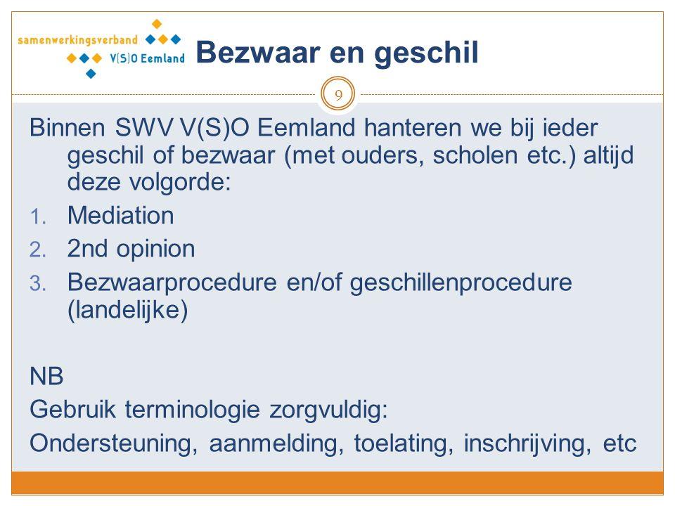 Bezwaar en geschil 9 Binnen SWV V(S)O Eemland hanteren we bij ieder geschil of bezwaar (met ouders, scholen etc.) altijd deze volgorde: 1. Mediation 2