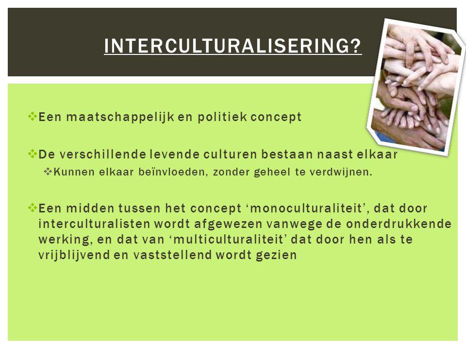  Een maatschappelijk en politiek concept  De verschillende levende culturen bestaan naast elkaar  Kunnen elkaar beïnvloeden, zonder geheel te verdw