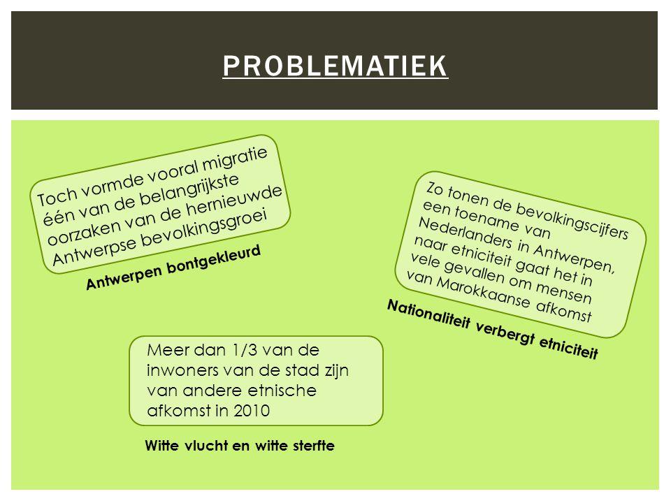 PROBLEMATIEK Toch vormde vooral migratie één van de belangrijkste oorzaken van de hernieuwde Antwerpse bevolkingsgroei Zo tonen de bevolkingscijfers een toename van Nederlanders in Antwerpen, naar etniciteit gaat het in vele gevallen om mensen van Marokkaanse afkomst Antwerpen bontgekleurd Nationaliteit verbergt etniciteit Meer dan 1/3 van de inwoners van de stad zijn van andere etnische afkomst in 2010 Witte vlucht en witte sterfte
