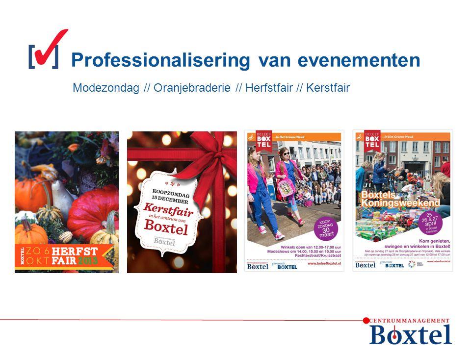 Modezondag // Oranjebraderie // Herfstfair // Kerstfair Professionalisering van evenementen