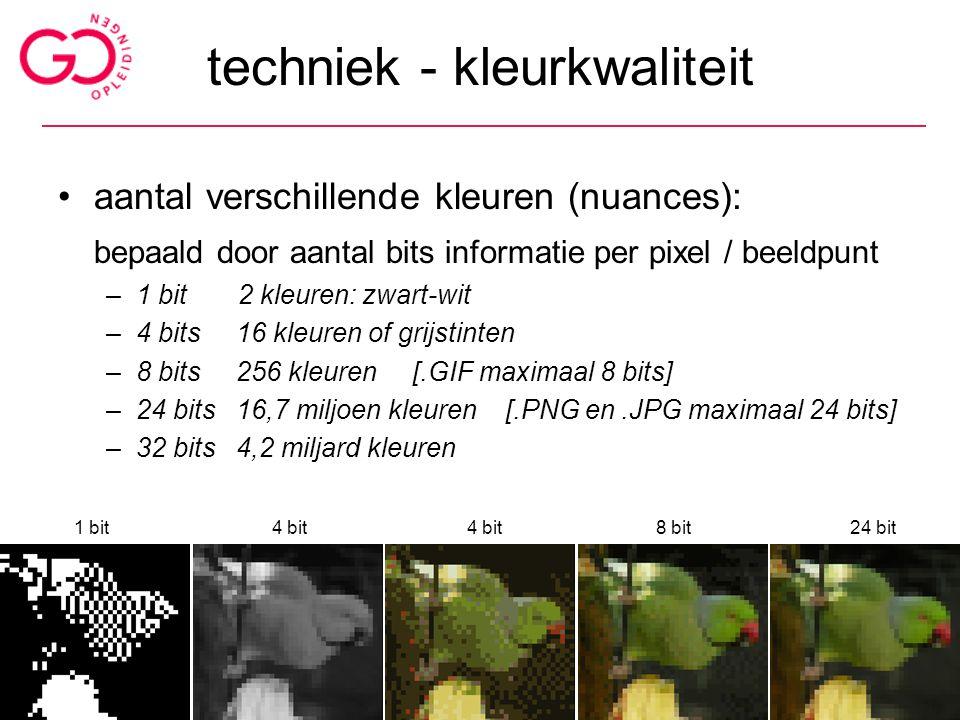 techniek - kleurkwaliteit aantal verschillende kleuren (nuances): bepaald door aantal bits informatie per pixel / beeldpunt –1 bit 2 kleuren: zwart-wi
