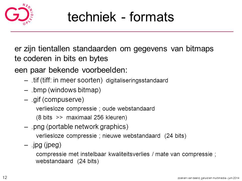 techniek - formats er zijn tientallen standaarden om gegevens van bitmaps te coderen in bits en bytes een paar bekende voorbeelden: –.tif (tiff: in me