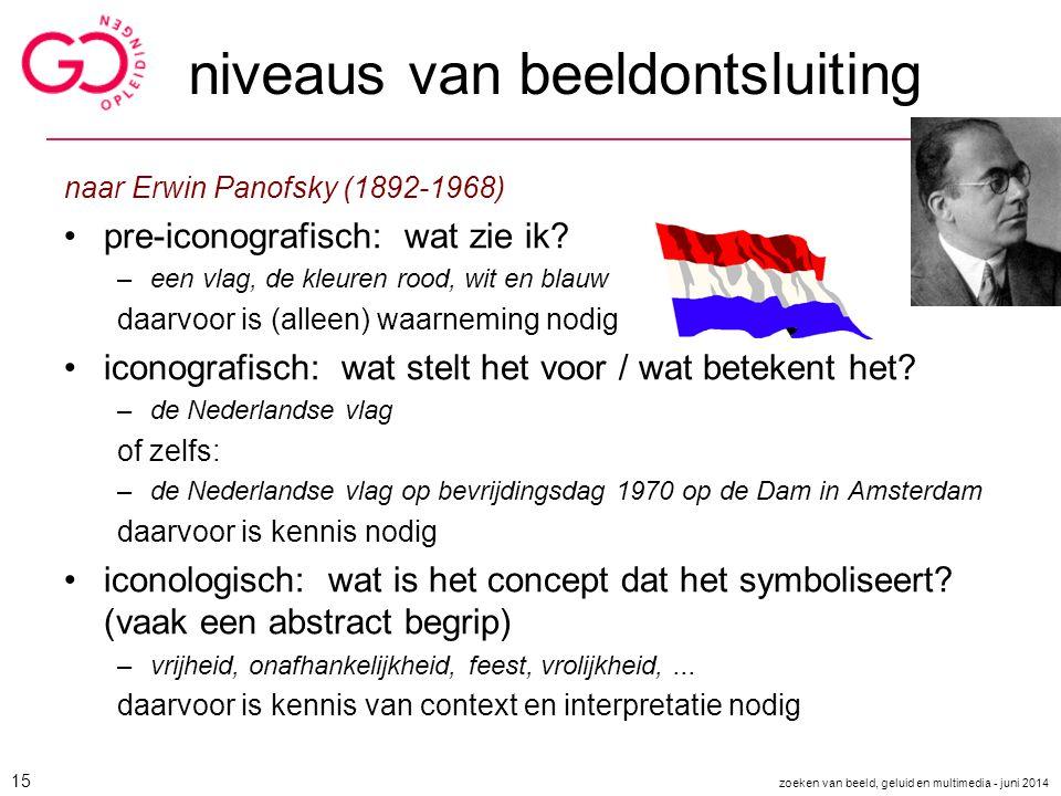 niveaus van beeldontsluiting naar Erwin Panofsky (1892-1968) pre-iconografisch: wat zie ik? –een vlag, de kleuren rood, wit en blauw daarvoor is (alle