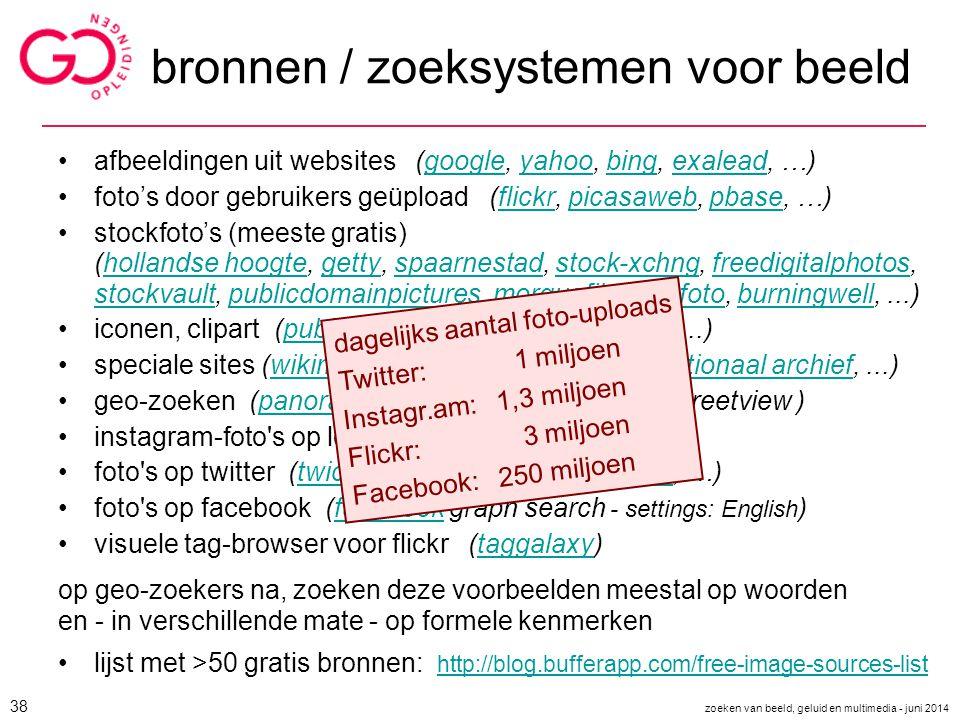 bronnen / zoeksystemen voor beeld afbeeldingen uit websites (google, yahoo, bing, exalead, …)googleyahoobingexalead foto's door gebruikers geüpload (f