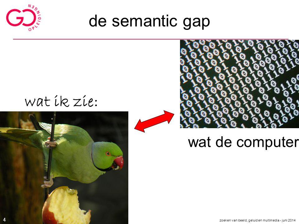 de semantic gap wat ik zie: wat de computer ziet zoeken van beeld, geluid en multimedia - juni 2014 4