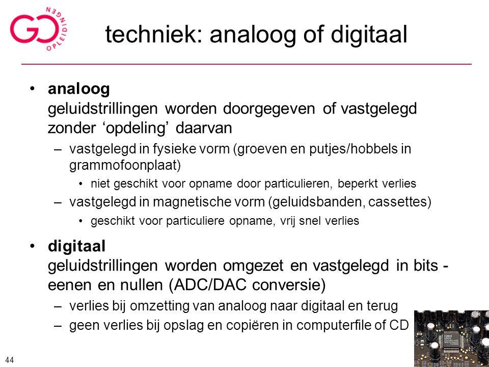 techniek: analoog of digitaal analoog geluidstrillingen worden doorgegeven of vastgelegd zonder 'opdeling' daarvan –vastgelegd in fysieke vorm (groeve
