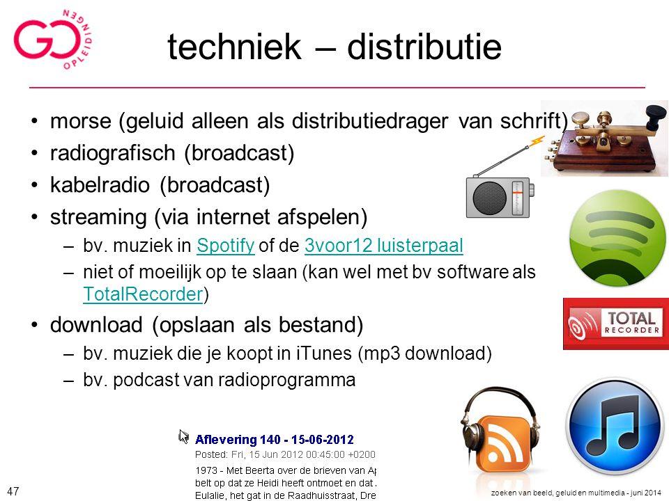 techniek – distributie morse (geluid alleen als distributiedrager van schrift) radiografisch (broadcast) kabelradio (broadcast) streaming (via interne