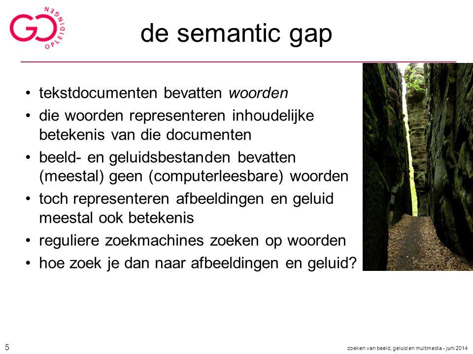 de semantic gap tekstdocumenten bevatten woorden die woorden representeren inhoudelijke betekenis van die documenten beeld- en geluidsbestanden bevatt