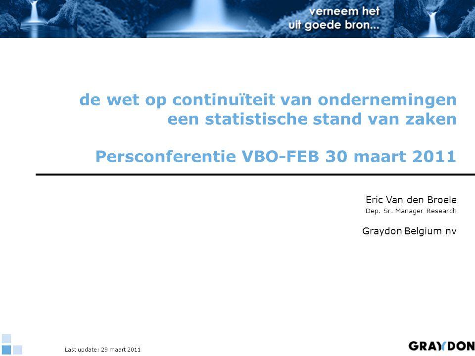 de wet op continuïteit van ondernemingen een statistische stand van zaken Persconferentie VBO-FEB 30 maart 2011 Eric Van den Broele Dep. Sr. Manager R