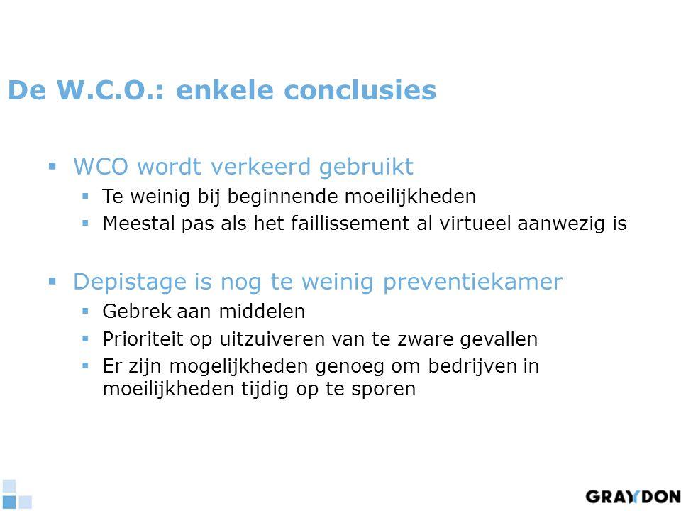 De W.C.O.: enkele conclusies  WCO wordt verkeerd gebruikt  Te weinig bij beginnende moeilijkheden  Meestal pas als het faillissement al virtueel aa