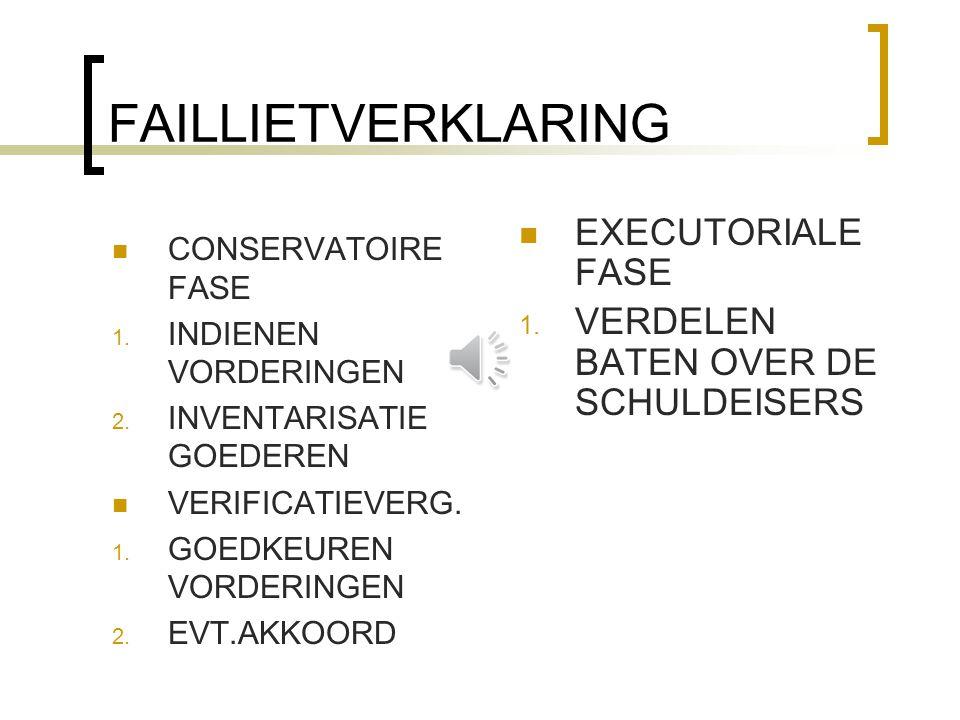 FAILLIETVERKLARING CONSERVATOIRE FASE 1. INDIENEN VORDERINGEN 2. INVENTARISATIE GOEDEREN VERIFICATIEVERG. 1. GOEDKEUREN VORDERINGEN 2. EVT.AKKOORD EXE