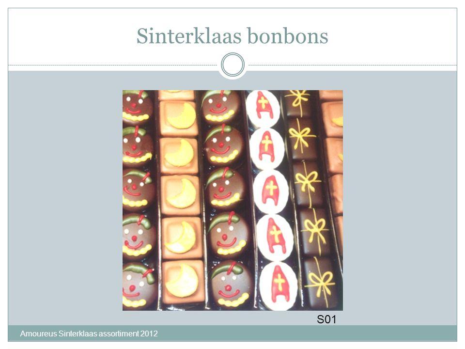 Amoureus Sinterklaas assortiment 2012 Minilettertjes Assortiment S02 Puur,S03 Melk,S04Wit, S05