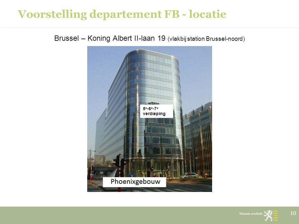 Voorstelling departement FB - locatie Brussel – Koning Albert II-laan 19 (vlakbij station Brussel-noord) 10 5 e -6 e -7 e verdieping