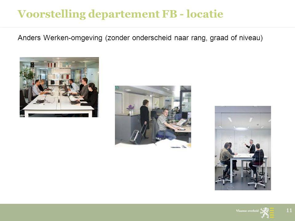 Voorstelling departement FB - locatie Anders Werken-omgeving (zonder onderscheid naar rang, graad of niveau) 11