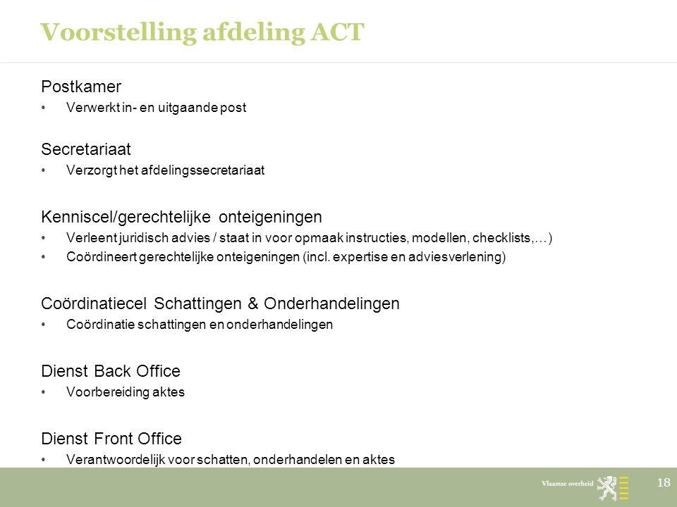 Voorstelling afdeling ACT Postkamer Verwerkt in- en uitgaande post Secretariaat Verzorgt het afdelingssecretariaat Kenniscel/gerechtelijke onteigening