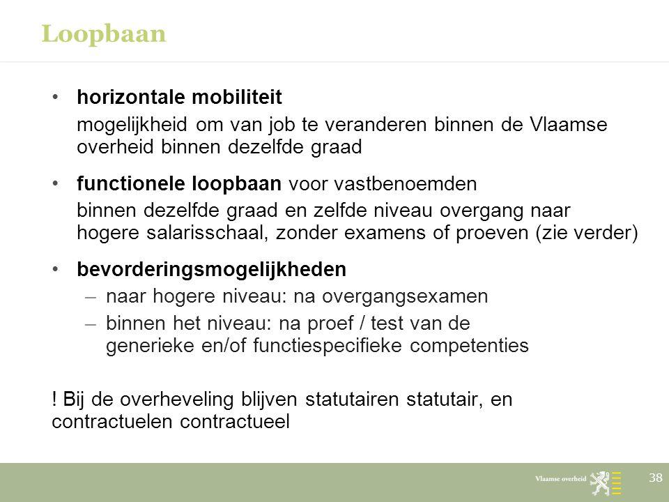 Loopbaan horizontale mobiliteit mogelijkheid om van job te veranderen binnen de Vlaamse overheid binnen dezelfde graad functionele loopbaan voor vastb