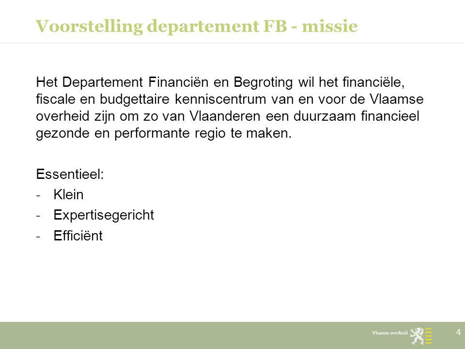 Voorstelling departement FB - missie Het Departement Financiën en Begroting wil het financiële, fiscale en budgettaire kenniscentrum van en voor de Vl