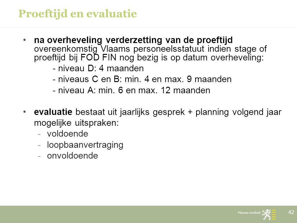 Proeftijd en evaluatie na overheveling verderzetting van de proeftijd overeenkomstig Vlaams personeelsstatuut indien stage of proeftijd bij FOD FIN no