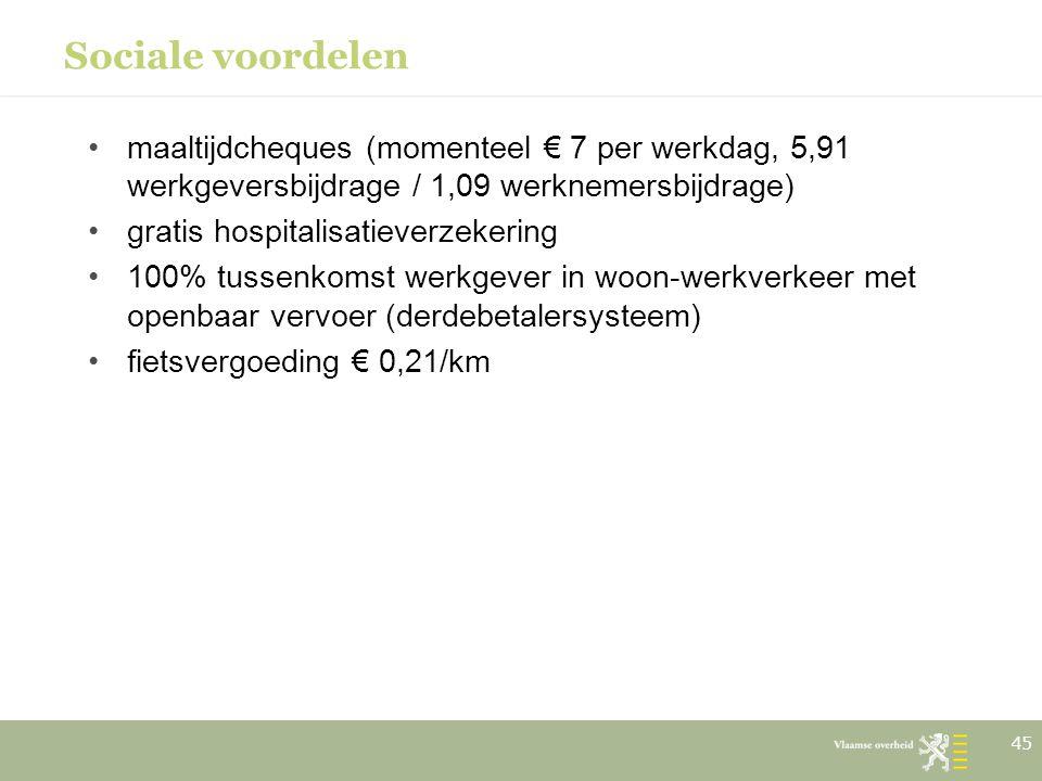 Sociale voordelen maaltijdcheques (momenteel € 7 per werkdag, 5,91 werkgeversbijdrage / 1,09 werknemersbijdrage) gratis hospitalisatieverzekering 100%