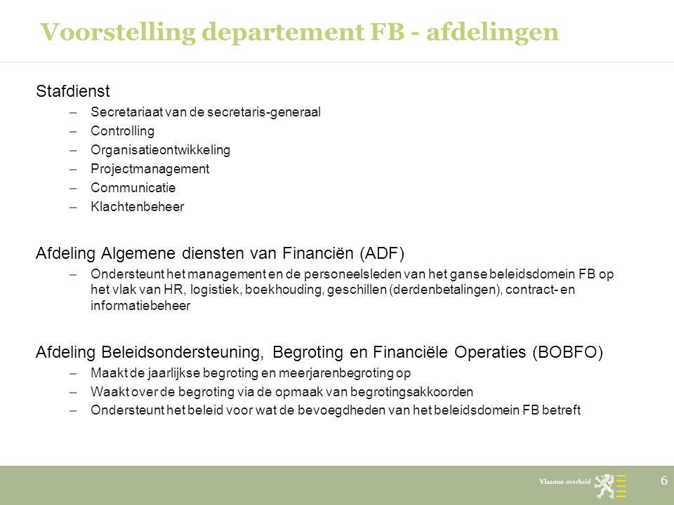Voorstelling departement FB - afdelingen Stafdienst –Secretariaat van de secretaris-generaal –Controlling –Organisatieontwikkeling –Projectmanagement