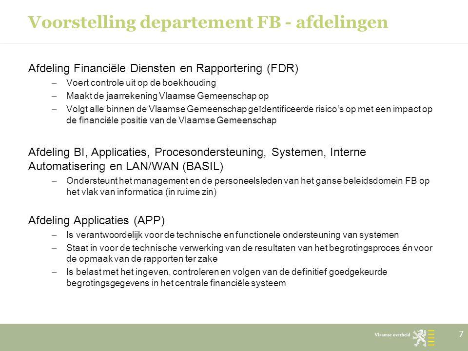 Voorstelling departement FB - afdelingen Afdeling Financiële Diensten en Rapportering (FDR) –Voert controle uit op de boekhouding –Maakt de jaarrekeni