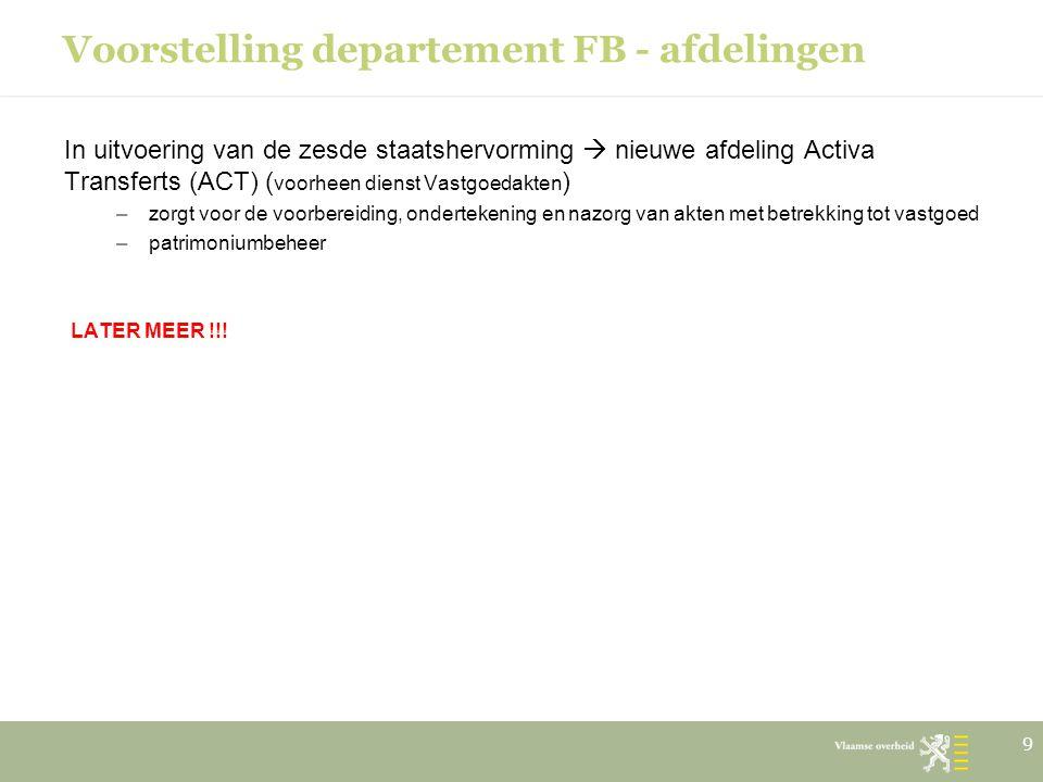 Voorstelling departement FB - afdelingen In uitvoering van de zesde staatshervorming  nieuwe afdeling Activa Transferts (ACT) ( voorheen dienst Vastg