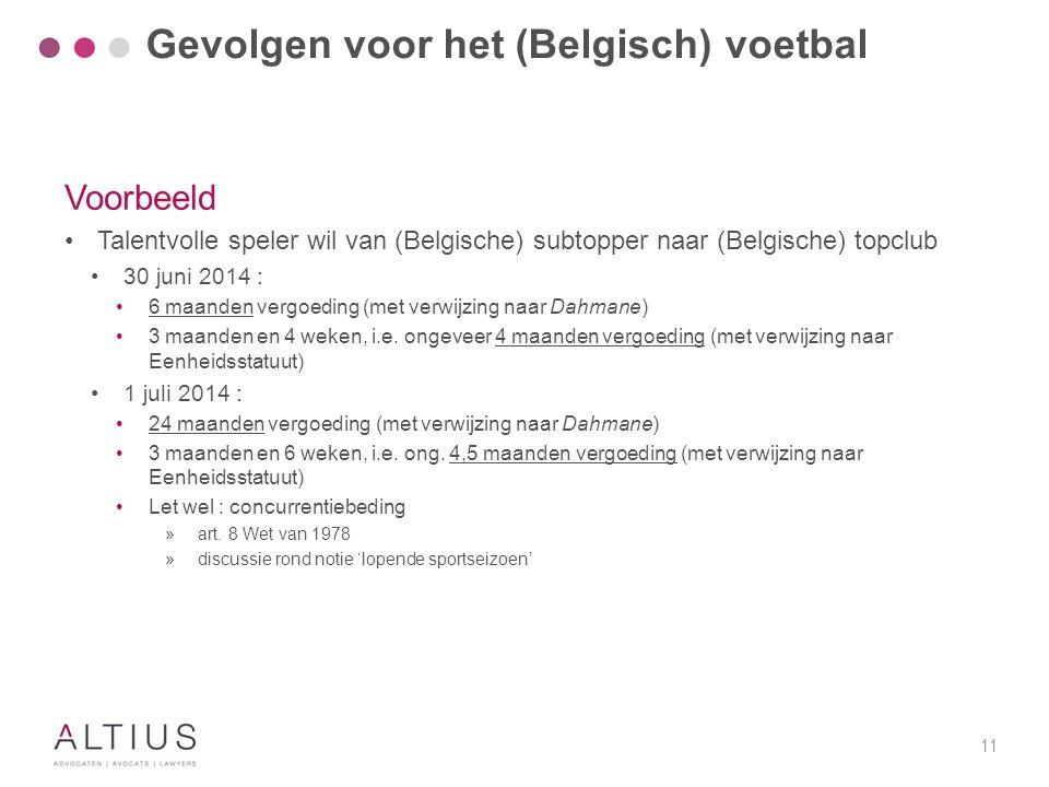 11 Voorbeeld Talentvolle speler wil van (Belgische) subtopper naar (Belgische) topclub 30 juni 2014 : 6 maanden vergoeding (met verwijzing naar Dahman