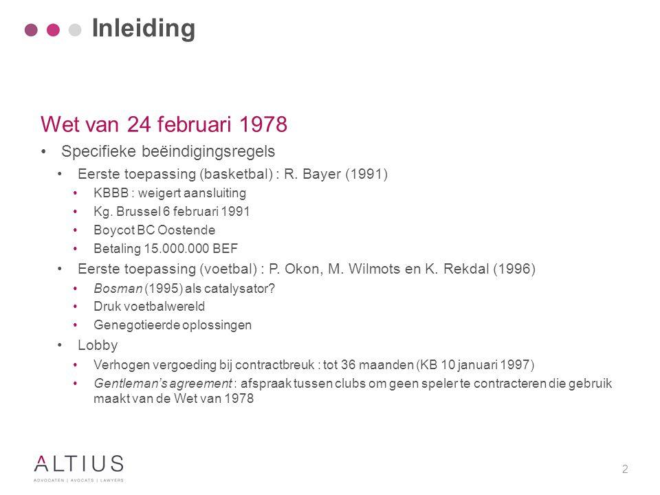 2 Wet van 24 februari 1978 Specifieke beëindigingsregels Eerste toepassing (basketbal) : R. Bayer (1991) KBBB : weigert aansluiting Kg. Brussel 6 febr