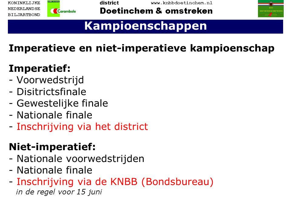 Kampioenschappen Imperatieve en niet-imperatieve kampioenschap Imperatief: - Voorwedstrijd - Disitrictsfinale - Gewestelijke finale - Nationale finale