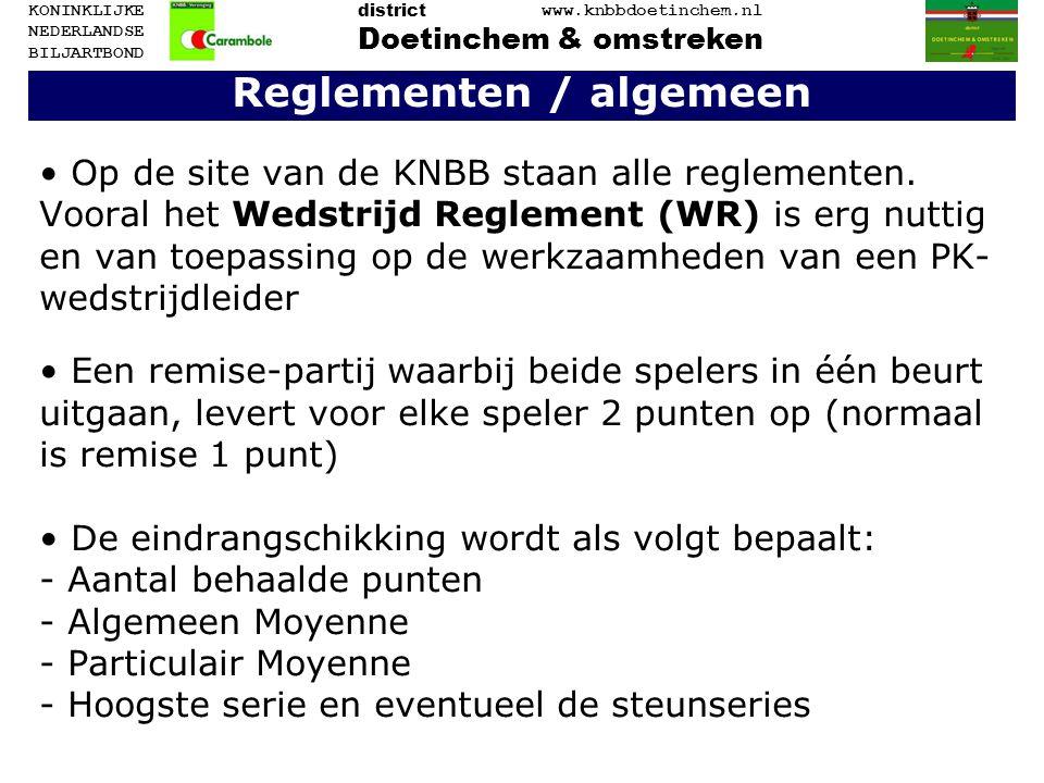 Reglementen / algemeen Op de site van de KNBB staan alle reglementen. Vooral het Wedstrijd Reglement (WR) is erg nuttig en van toepassing op de werkza