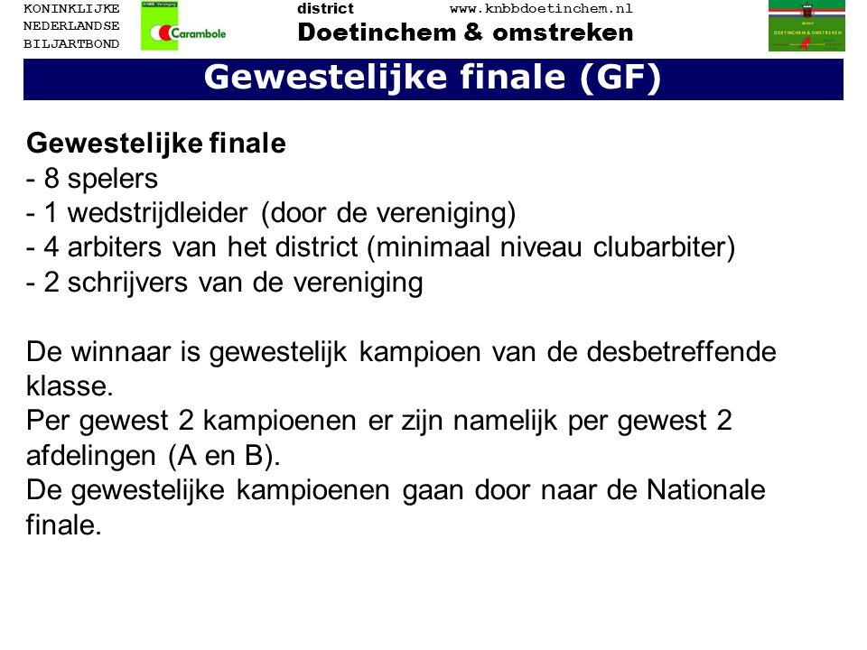 Gewestelijke finale (GF) Gewestelijke finale - 8 spelers - 1 wedstrijdleider (door de vereniging) - 4 arbiters van het district (minimaal niveau cluba
