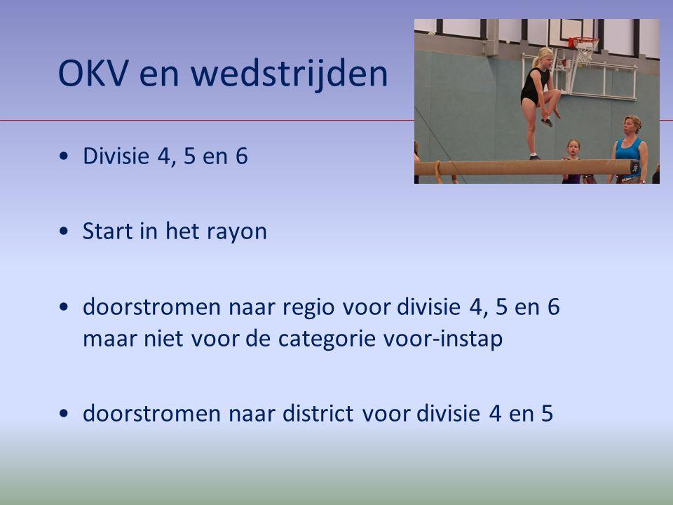 OKV en wedstrijden Divisie 4, 5 en 6 Start in het rayon doorstromen naar regio voor divisie 4, 5 en 6 maar niet voor de categorie voor-instap doorstro