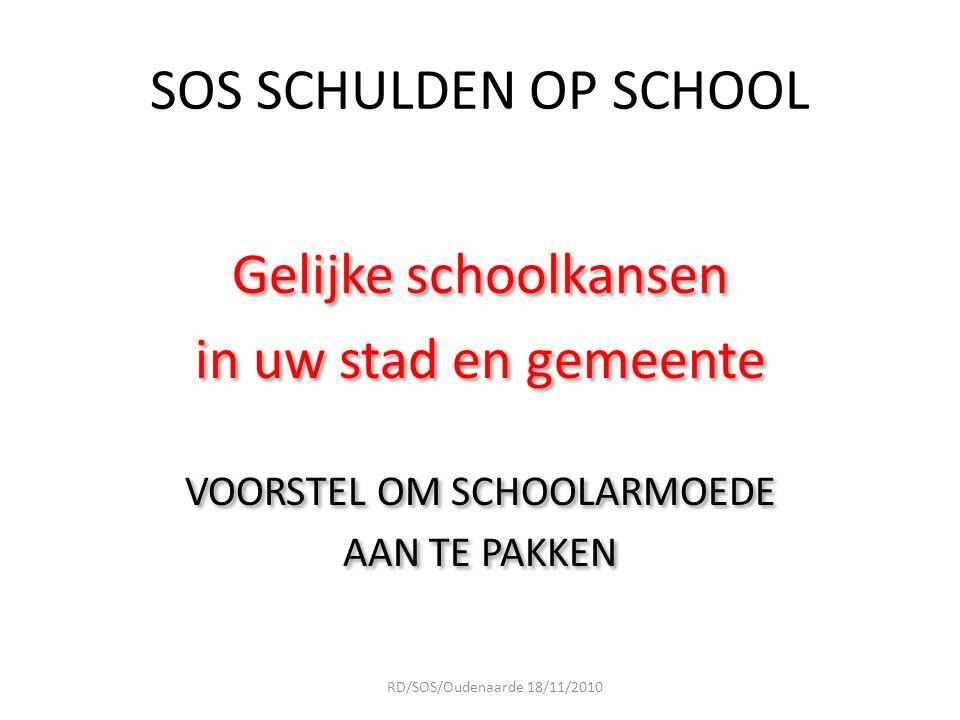 goed PRAKTIJK voorbeeld Samenwerkingsverband OCMW/Scholen/Ouders en SOS Schulden op School (ouders kunnen zich laten vertegenwoordigen door bv 4 de wereldgroep) RD/SOS/Oudenaarde 18/11/2010
