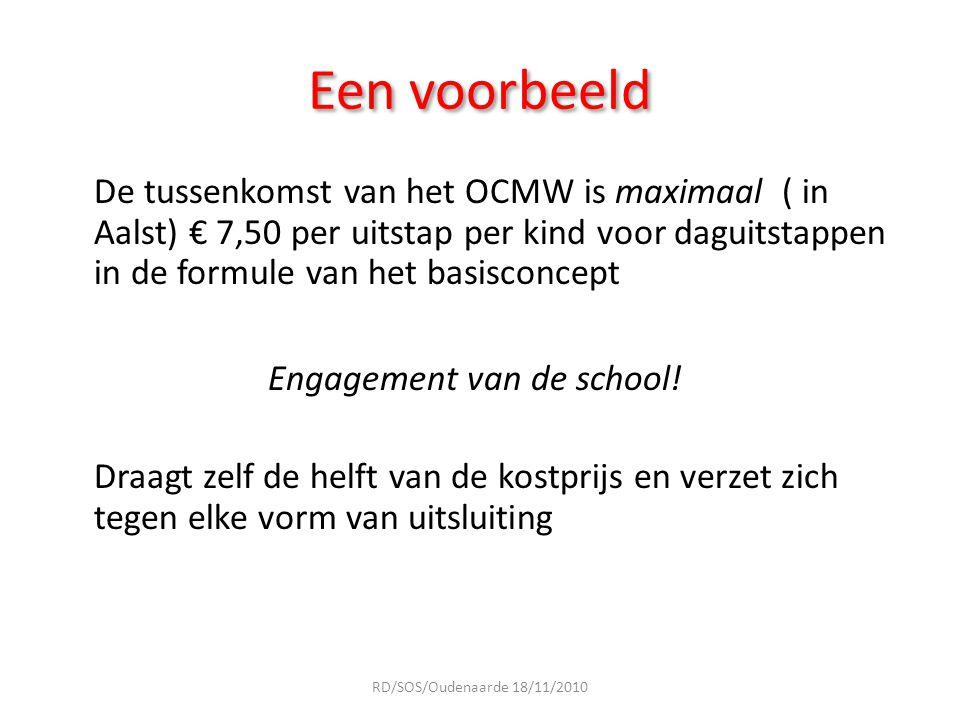 Een voorbeeld De tussenkomst van het OCMW is maximaal ( in Aalst) € 7,50 per uitstap per kind voor daguitstappen in de formule van het basisconcept En